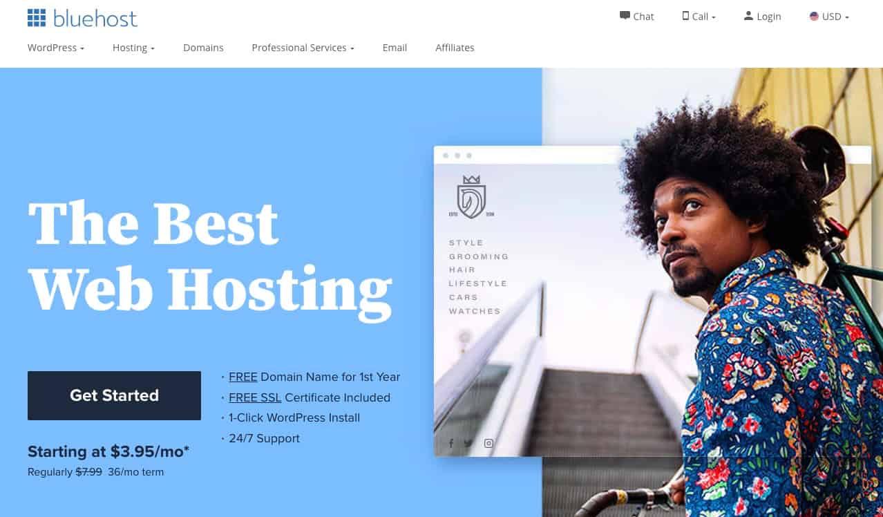 bluehost website homepage