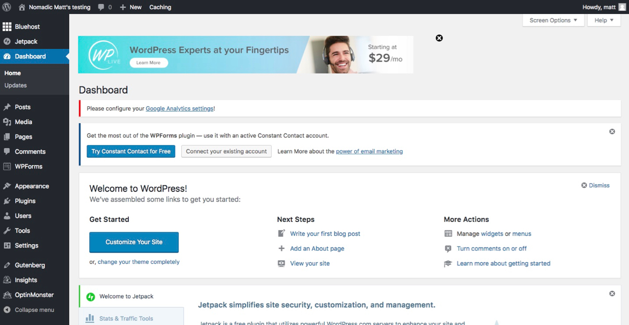 the main wordpress dashboard