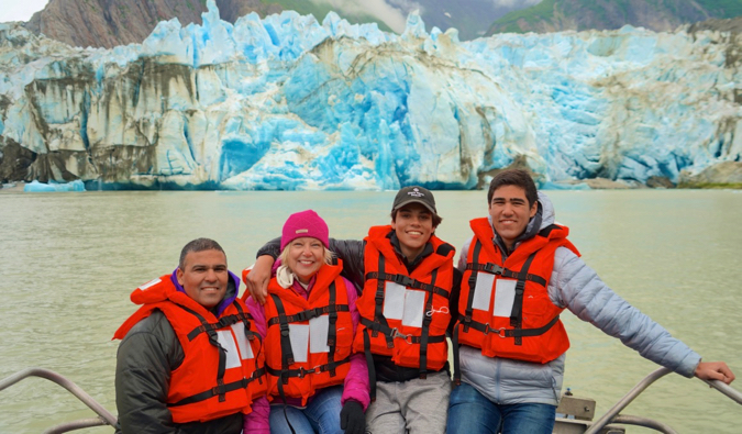 the kidtripster family visiting a glacier